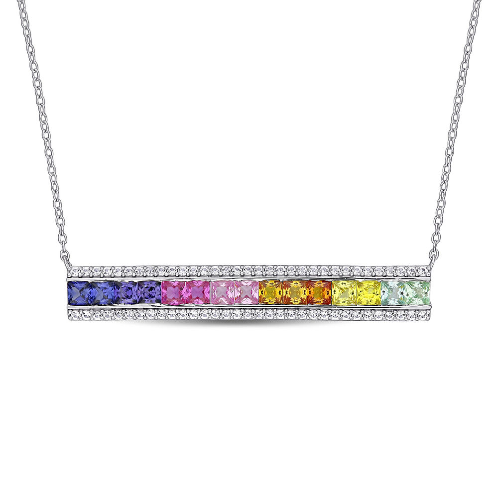 Rainbow Bar Necklace with Lab-Created Multi-Color Sapphires in Sterling Silver