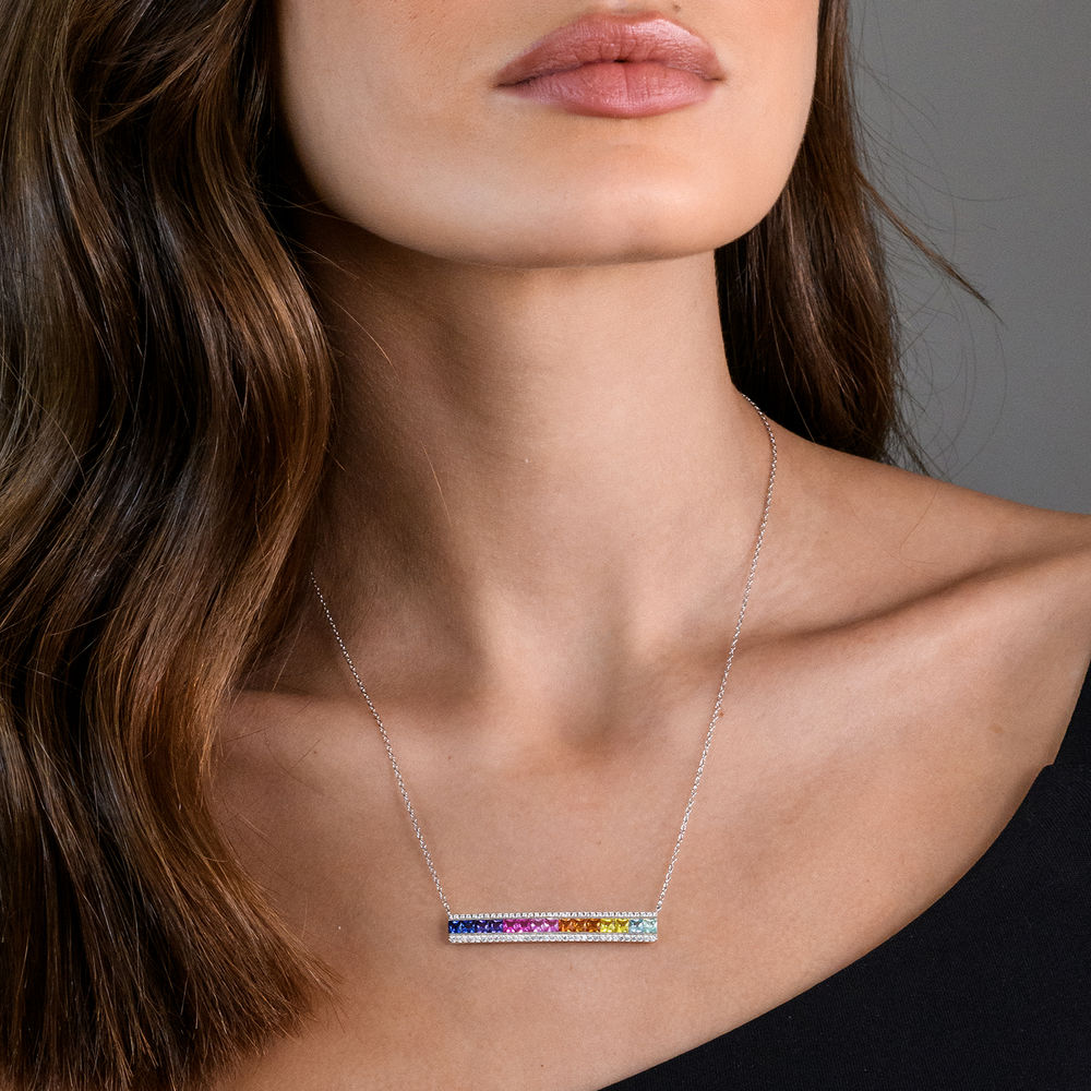 Rainbow Bar Necklace with Lab-Created Multi-Color Sapphires in Sterling Silver - 2