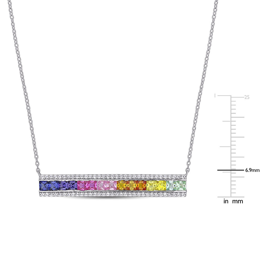 Rainbow Bar Necklace with Lab-Created Multi-Color Sapphires in Sterling Silver - 4