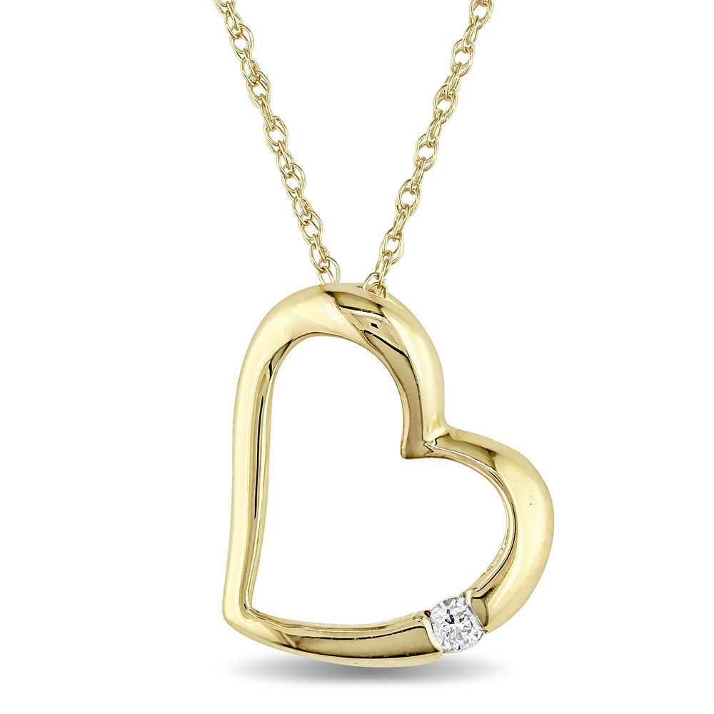 Hanging Heart Pendant Necklace in 10K Yellow Gold with Diamond