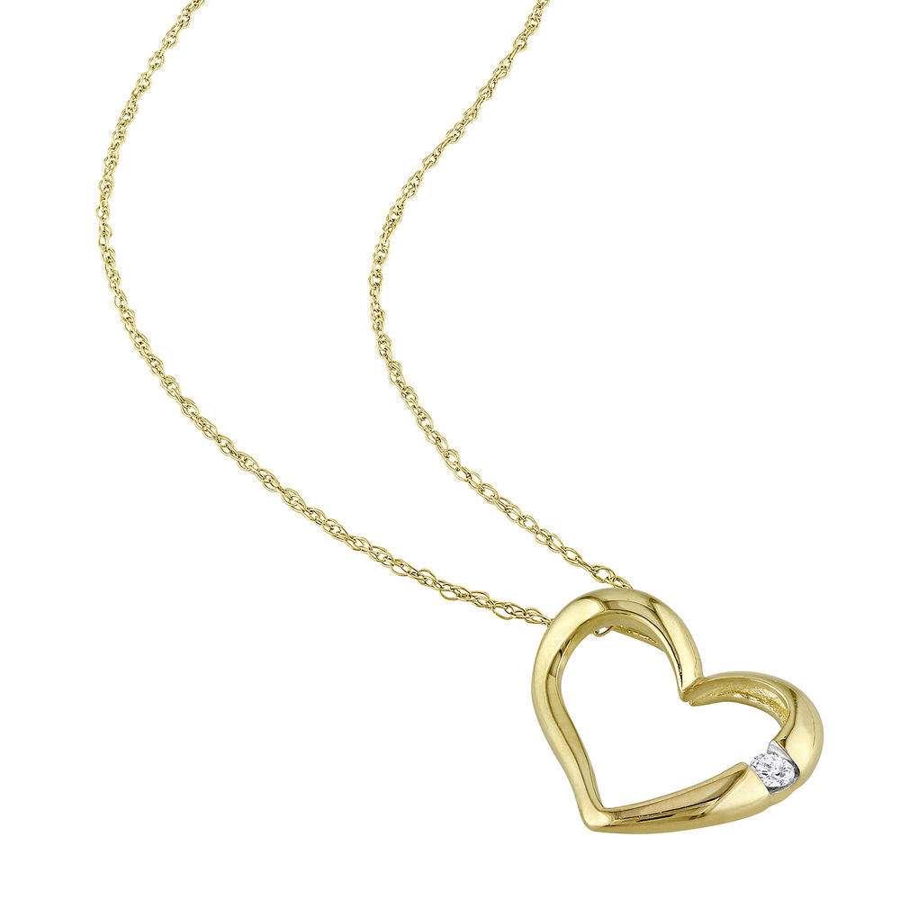 Hanging Heart Pendant Necklace in 10K Yellow Gold with Diamond - 1