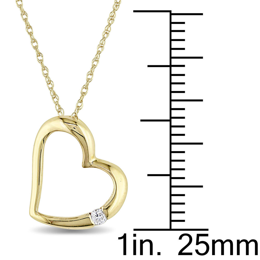 Hanging Heart Pendant Necklace in 10K Yellow Gold with Diamond - 4
