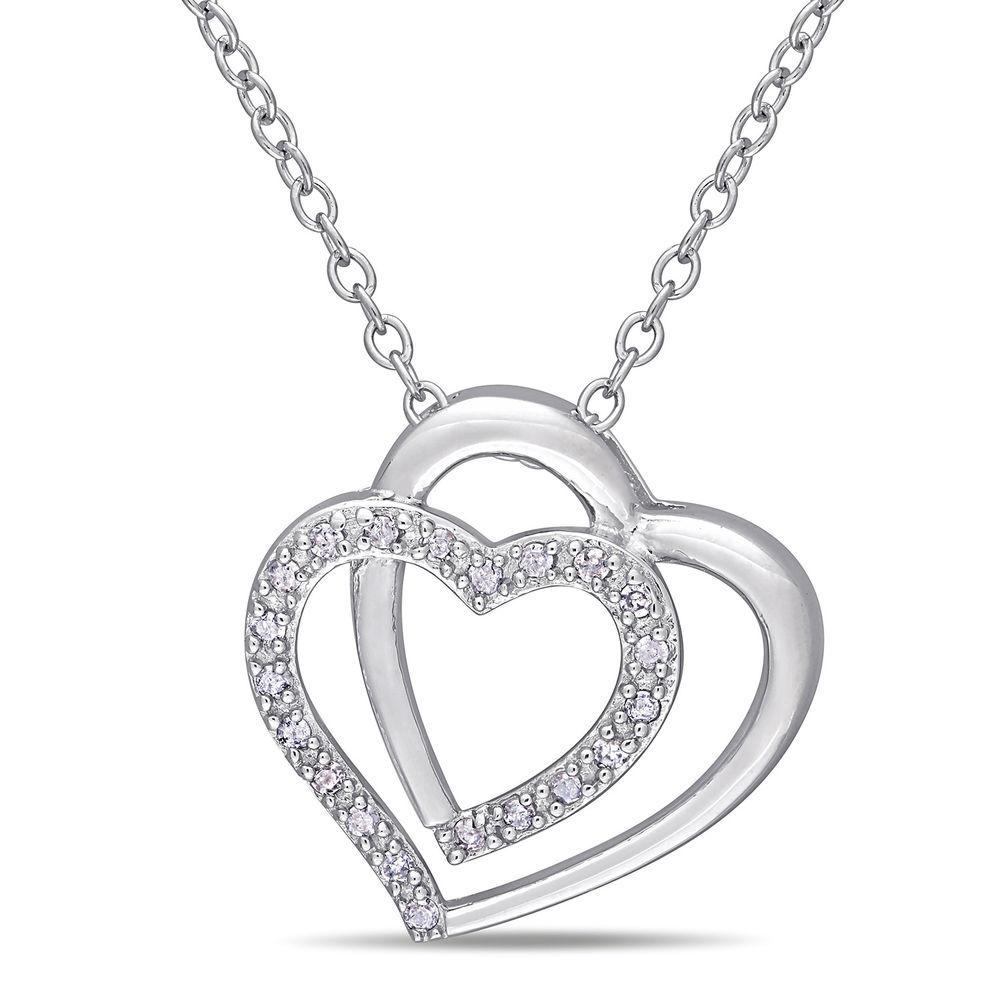 1/10 CT. T.W. Diamond Doble Heart Pendant in Sterling Silver