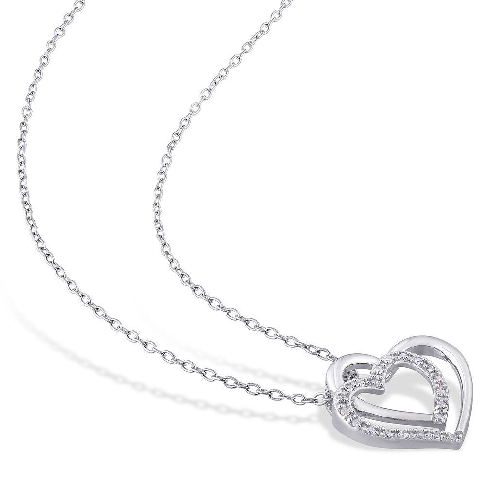 1/10 CT. T.W. Diamond Doble Heart Pendant in Sterling Silver - 1