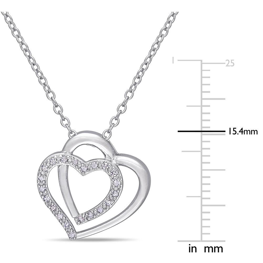 1/10 CT. T.W. Diamond Doble Heart Pendant in Sterling Silver - 4