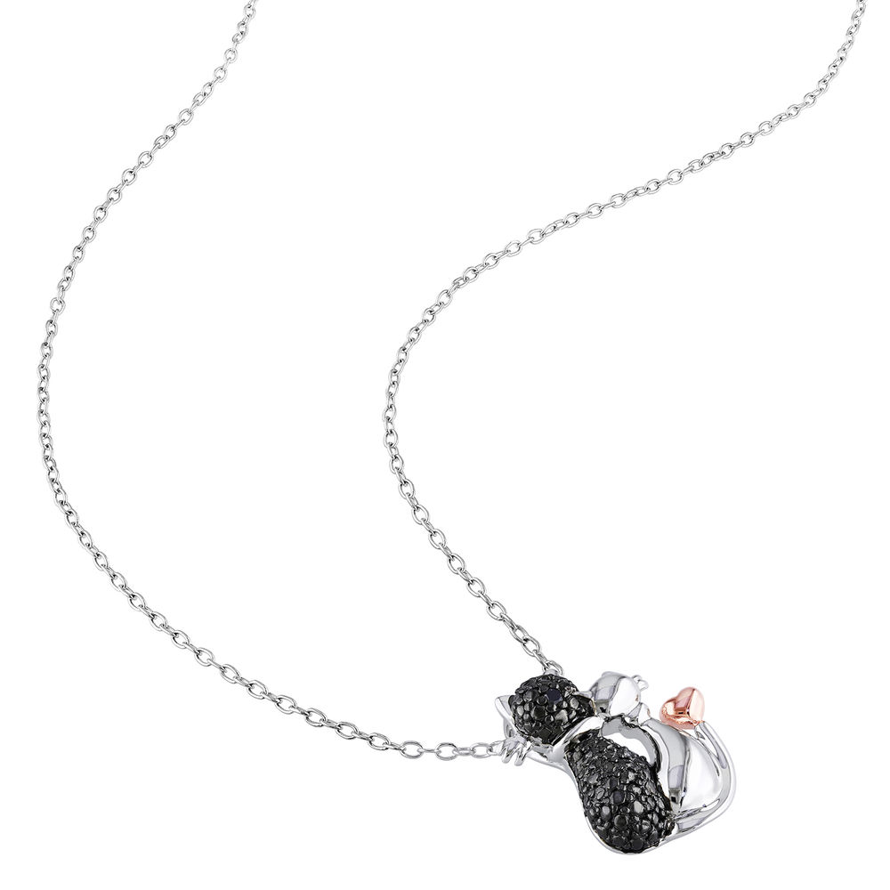 Black Diamond Cats Necklace in Sterling Silver with Rose Gold Plated details and Rhodium Plated - 1