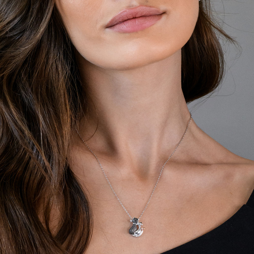 Black Diamond Cats Necklace in Sterling Silver with Rose Gold Plated details and Rhodium Plated - 2