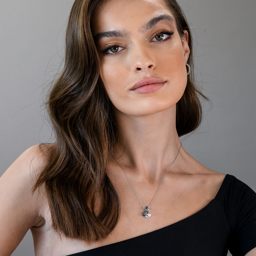 Black Diamond Cats Necklace in Sterling Silver with Rose Gold Plated details and Rhodium Plated - 3