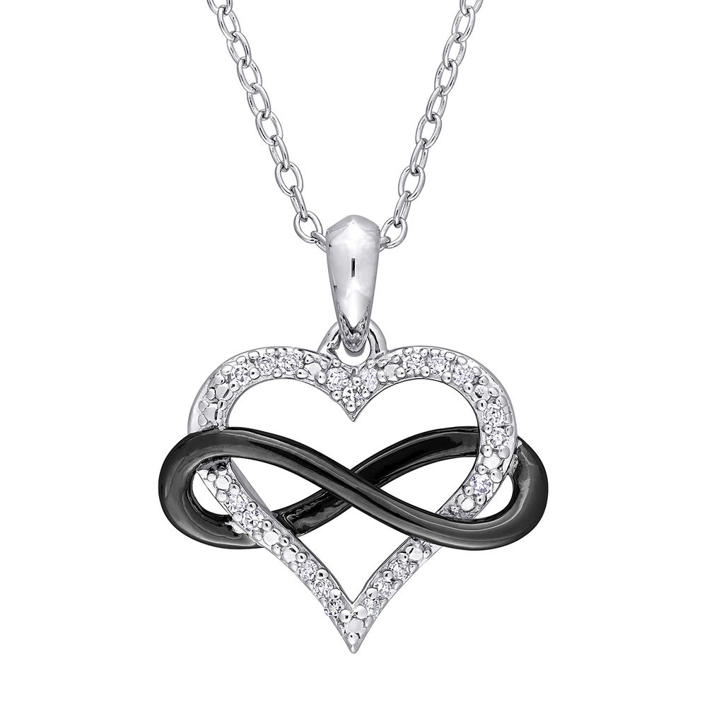 1/10 CT. T.W. Diamond Heart Pendant in Sterling Silver with Black Rhodium Plated Infinity Interlocked