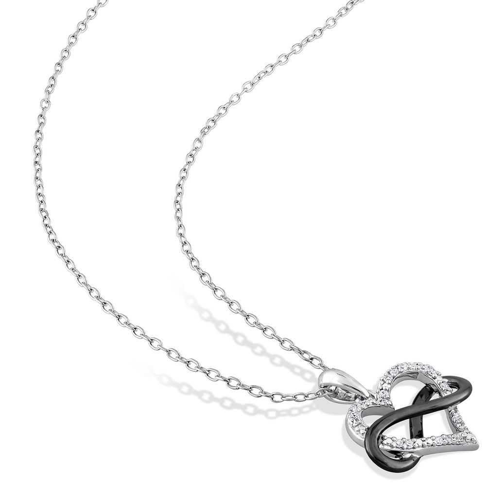 1/10 CT. T.W. Diamond Heart Pendant in Sterling Silver with Black Rhodium Plated Infinity Interlocked - 1