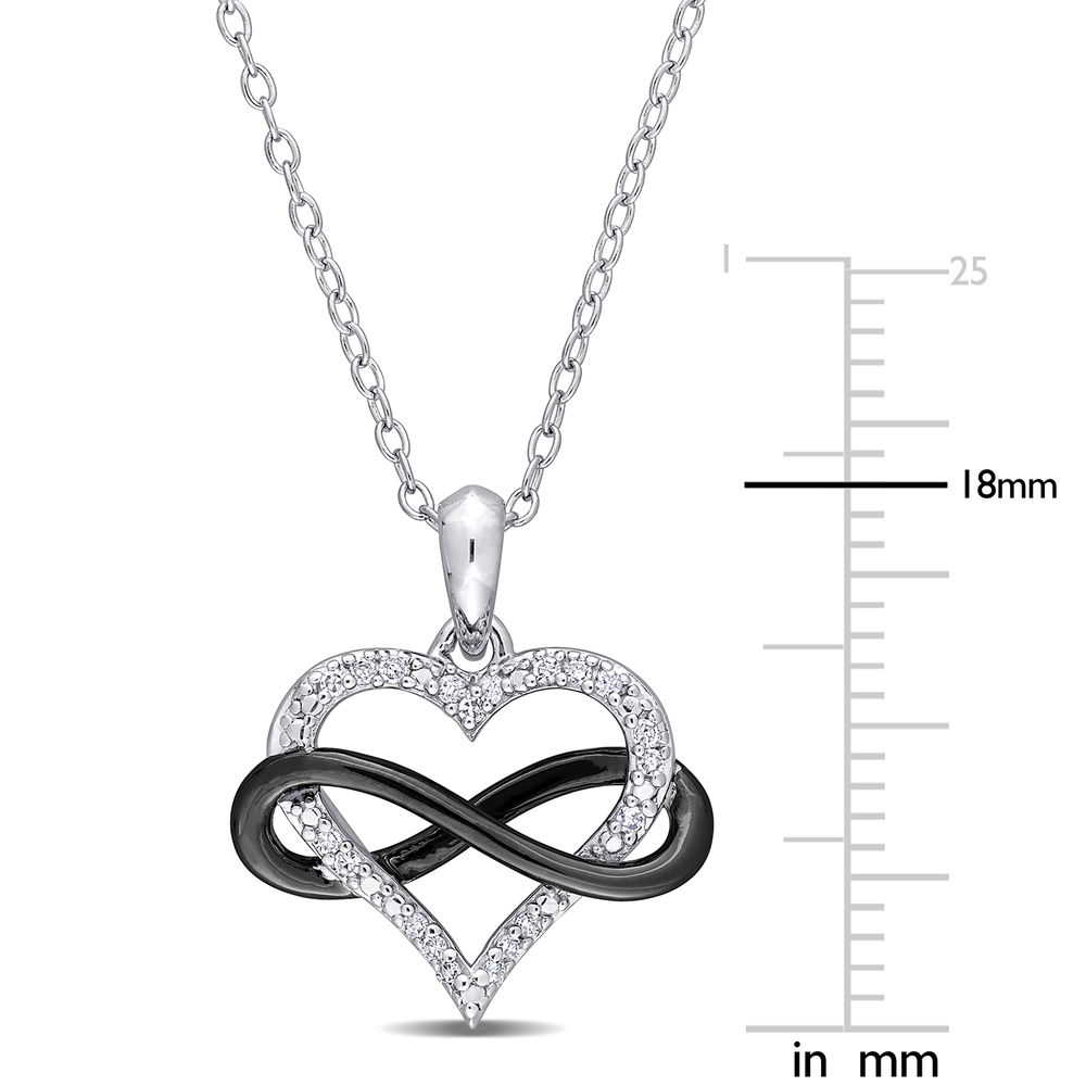 1/10 CT. T.W. Diamond Heart Pendant in Sterling Silver with Black Rhodium Plated Infinity Interlocked - 4