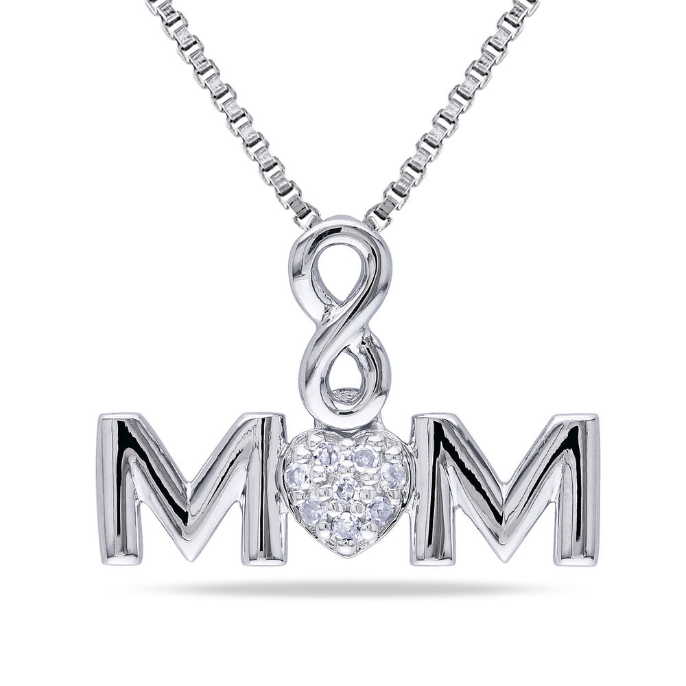 Mom Infinity Love Necklace in Sterling Silver with Diamonds