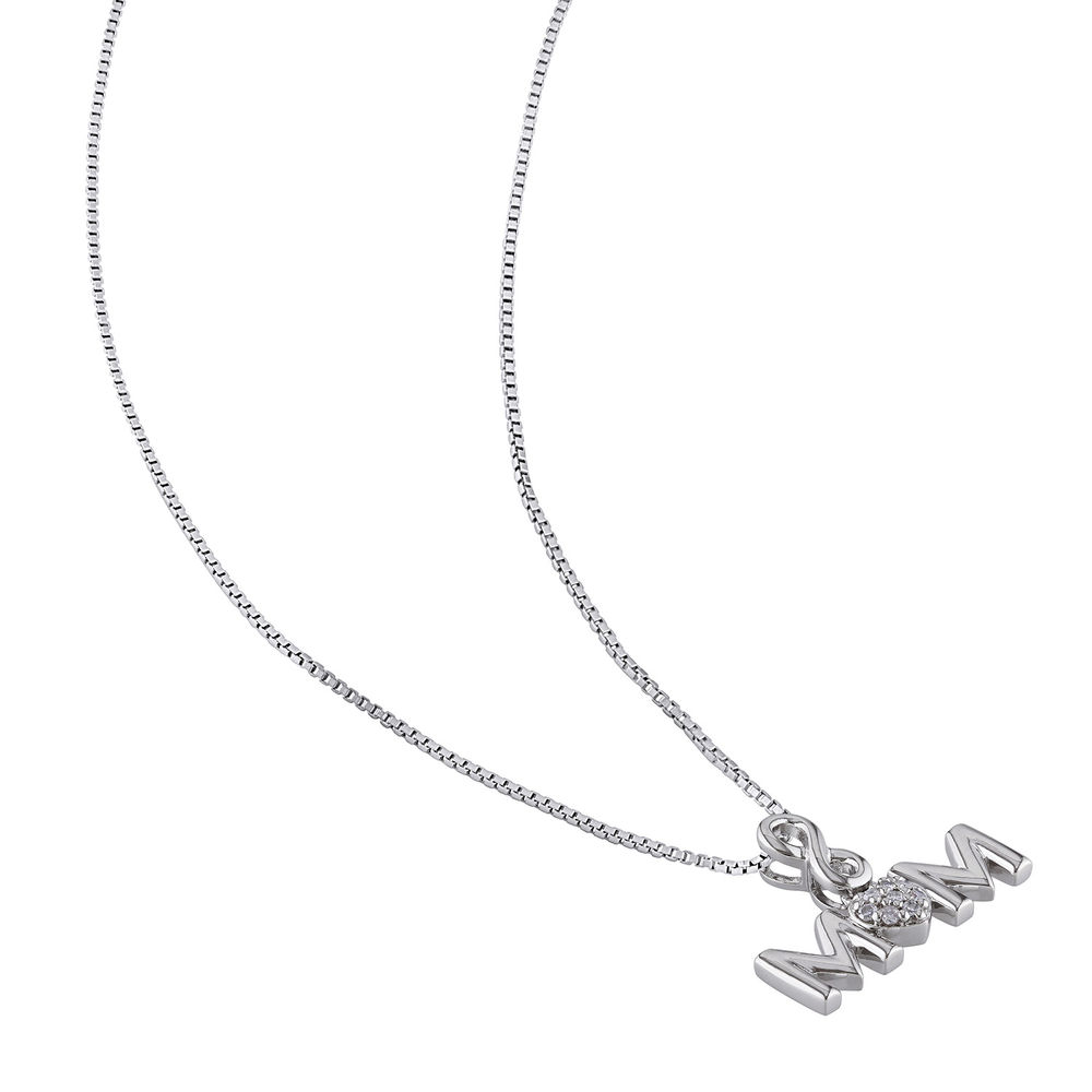Mom Infinity Love Necklace in Sterling Silver with Diamonds - 1