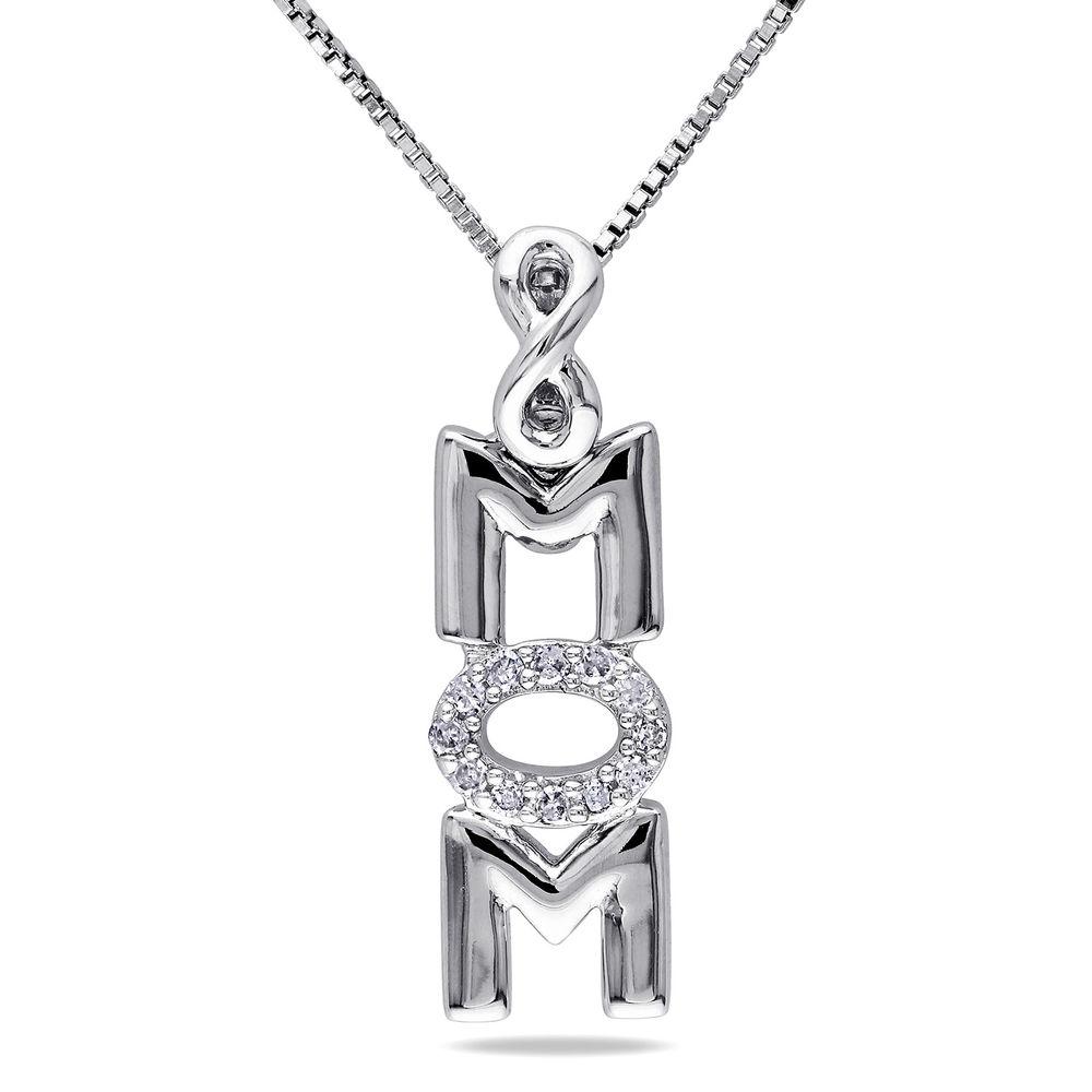 Vertical Mom Necklace in Sterling Silver wih Diamonds