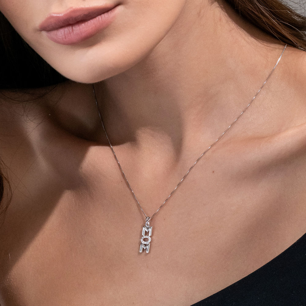 Vertical Mom Necklace in Sterling Silver wih Diamonds - 2