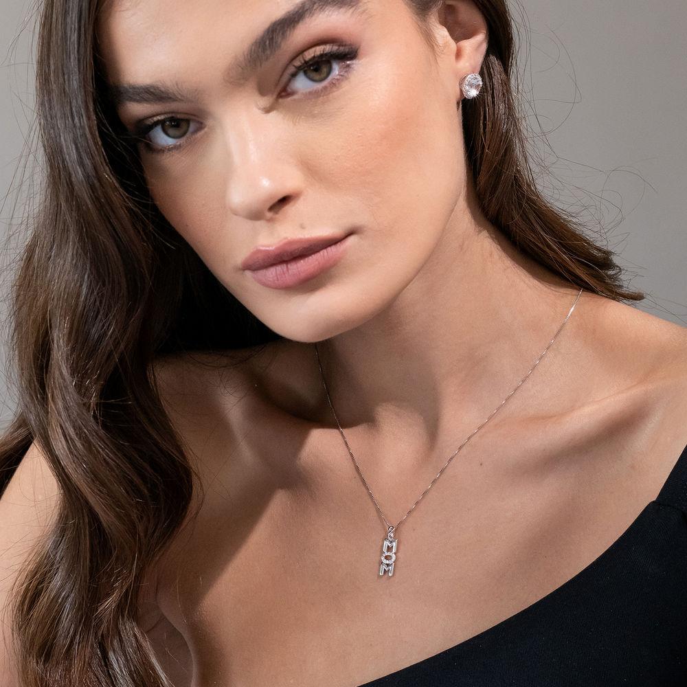Vertical Mom Necklace in Sterling Silver wih Diamonds - 3