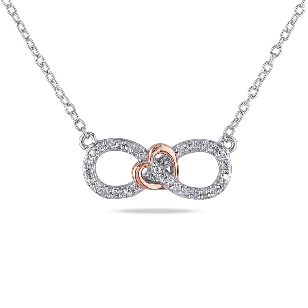 1/10 CT. T.W. Diamond Infinity Necklace Pendant in Sterling Silver with Dainty Heart in Rose Gold Plated