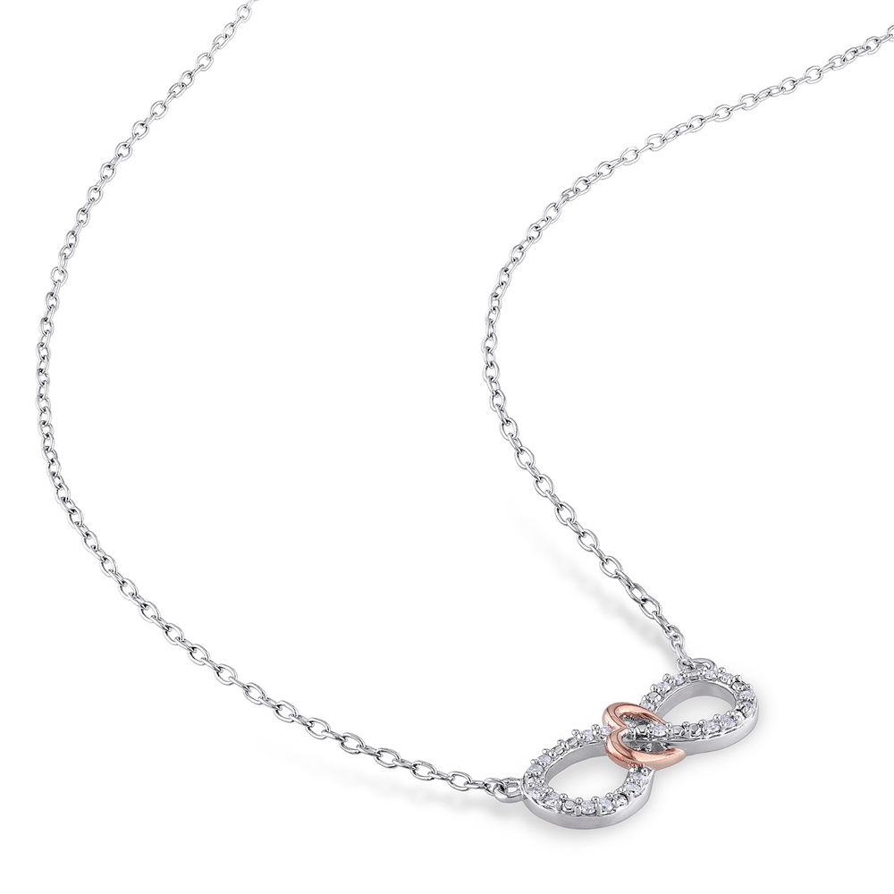 1/10 CT. T.W. Diamond Infinity Necklace Pendant in Sterling Silver with Dainty Heart in Rose Gold Plated - 1