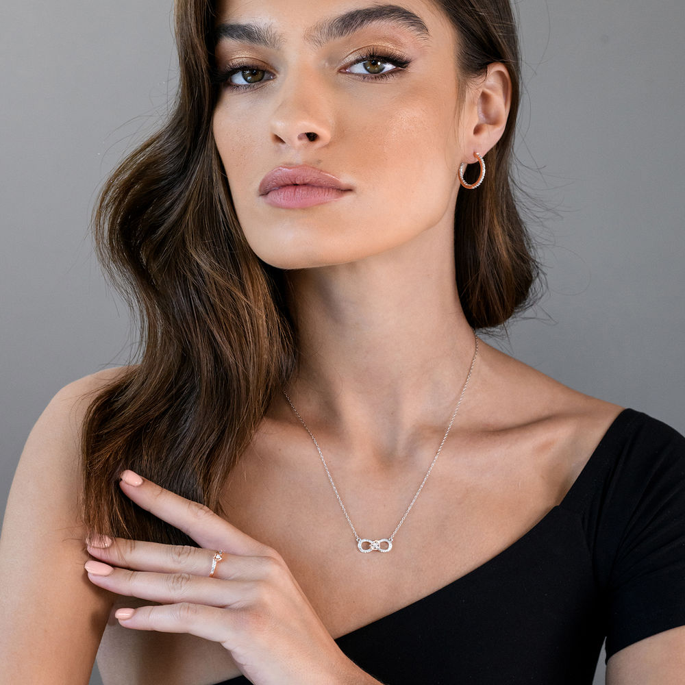 1/10 CT. T.W. Diamond Infinity Necklace Pendant in Sterling Silver with Dainty Heart in Rose Gold Plated - 3