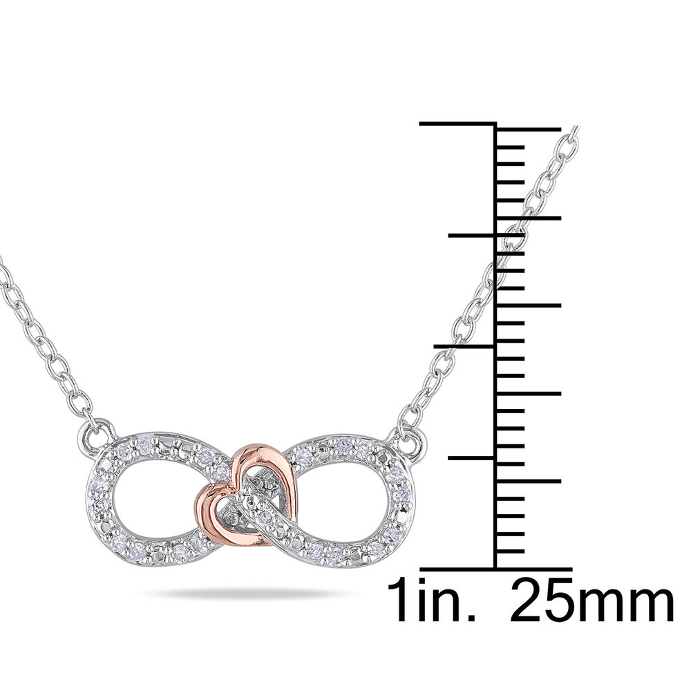 1/10 CT. T.W. Diamond Infinity Necklace Pendant in Sterling Silver with Dainty Heart in Rose Gold Plated - 4