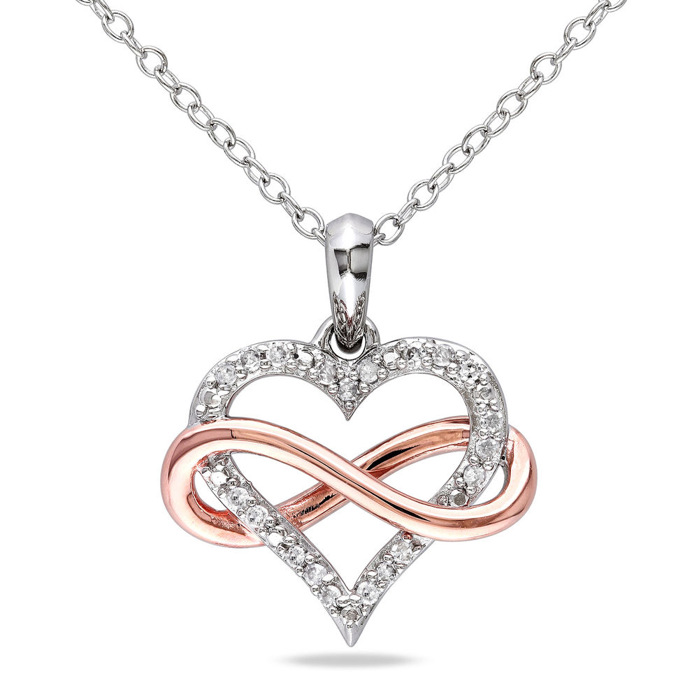 1/10 CT. T.W. Diamond Heart Pendant in Sterling Silver with Rose Gold Plated Infinity Interlocked