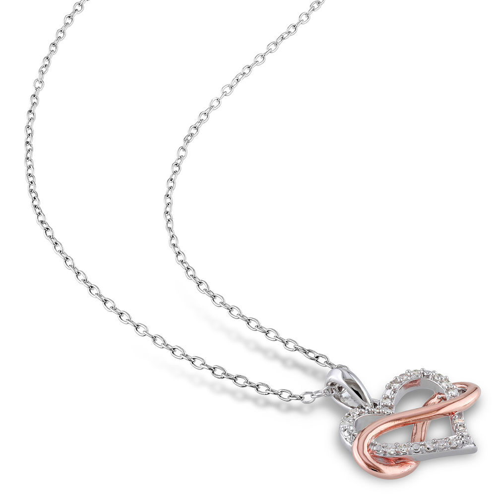 1/10 CT. T.W. Diamond Heart Pendant in Sterling Silver with Rose Gold Plated Infinity Interlocked - 1