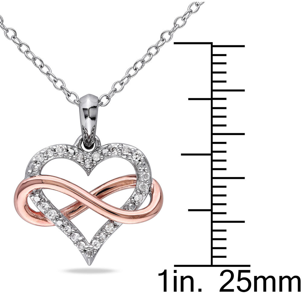 1/10 CT. T.W. Diamond Heart Pendant in Sterling Silver with Rose Gold Plated Infinity Interlocked - 4