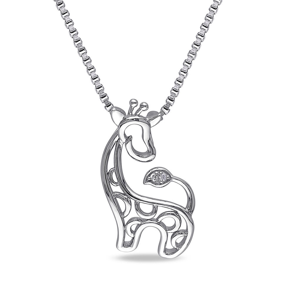 Giraffe Necklace in Sterling Silver with Diamonds