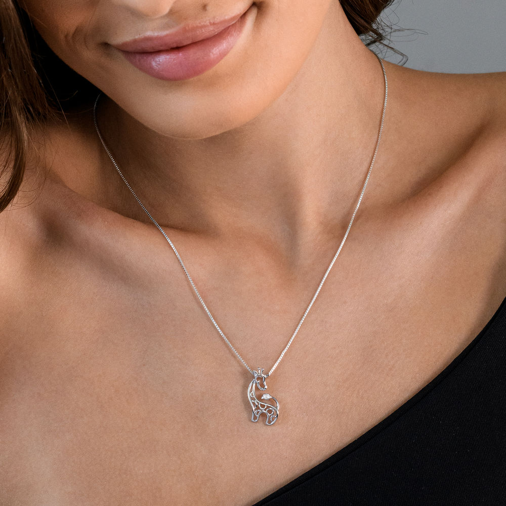 Giraffe Necklace in Sterling Silver with Diamonds - 2