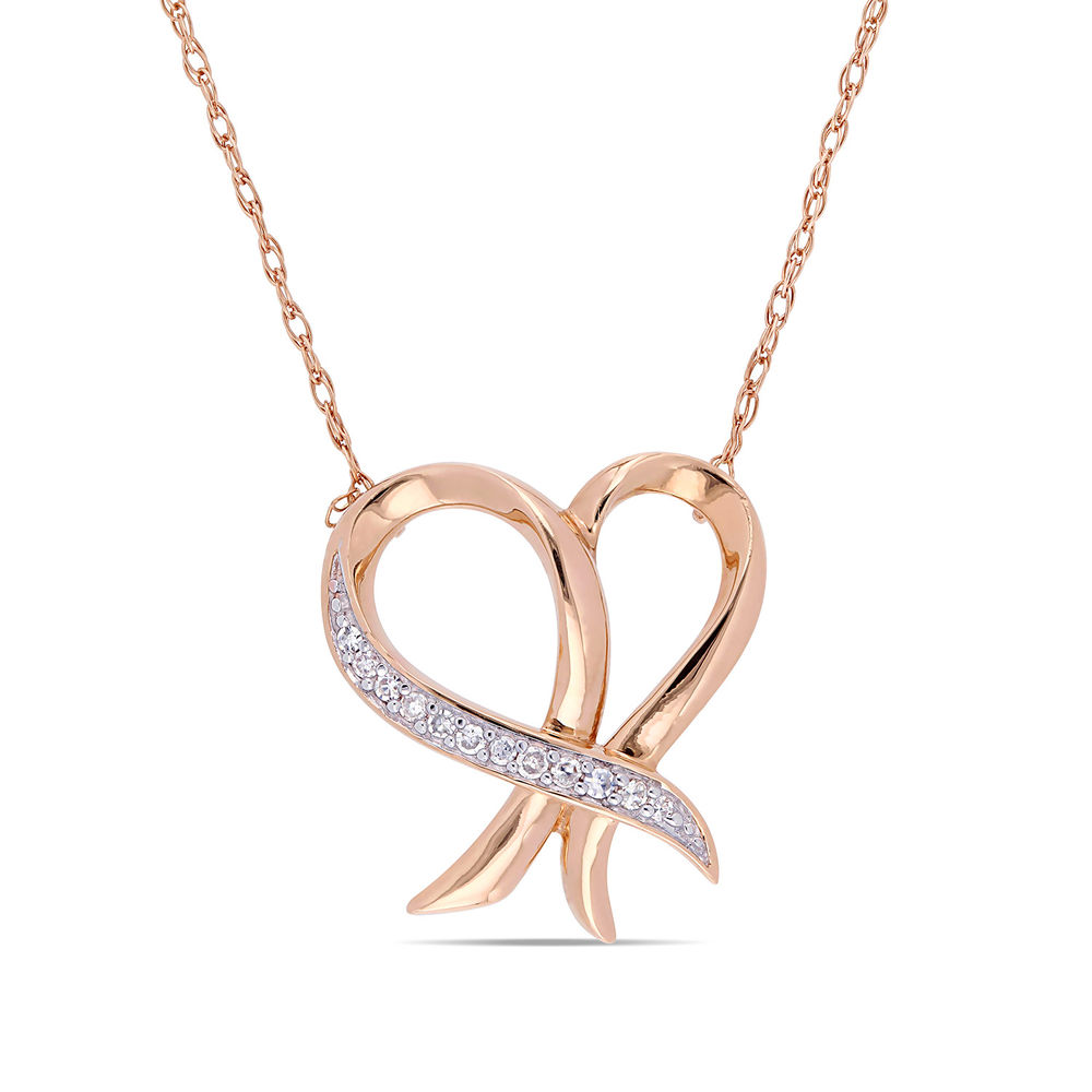 Diamond Heart Necklace Pendant in 10k Rose Gold