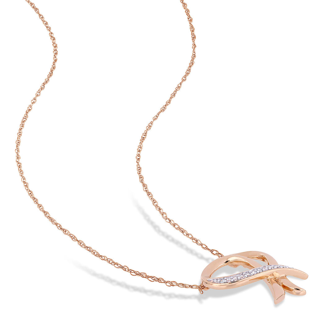 Diamond Heart Necklace Pendant in 10k Rose Gold - 1