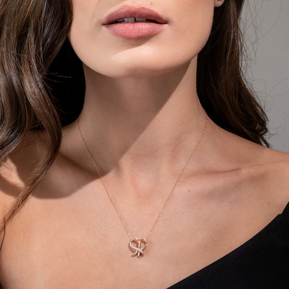 Diamond Heart Necklace Pendant in 10k Rose Gold - 2