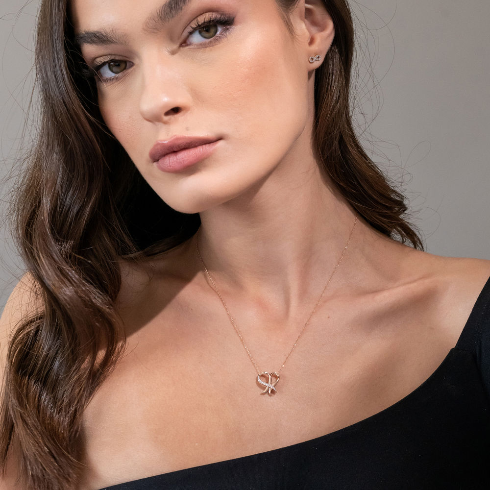Diamond Heart Necklace Pendant in 10k Rose Gold - 3