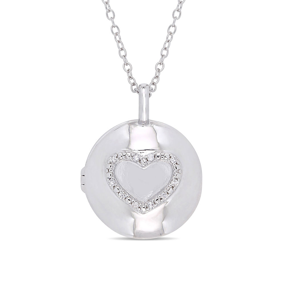 Locket Pendant Necklace in Sterling Silver with Diamond Heart