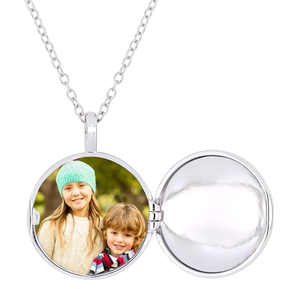 Locket Pendant Necklace in Sterling Silver with Diamond Heart - 1