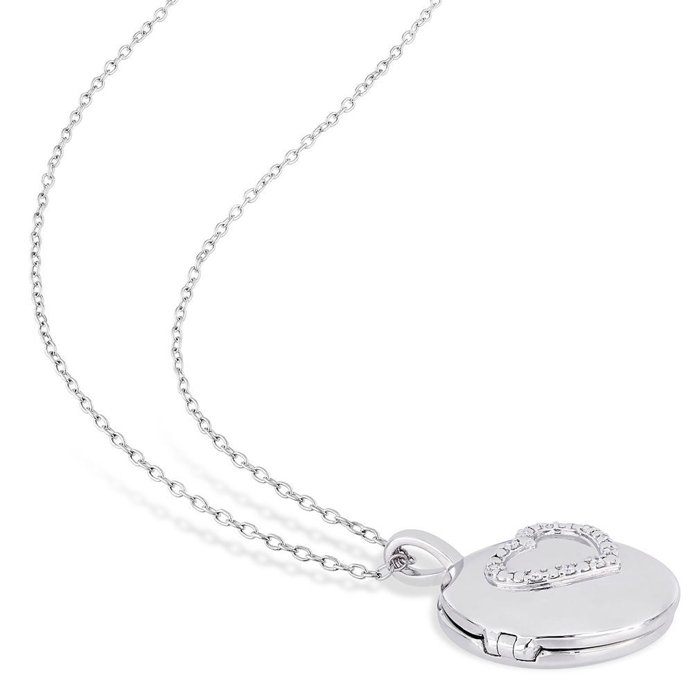 Locket Pendant Necklace in Sterling Silver with Diamond Heart - 3