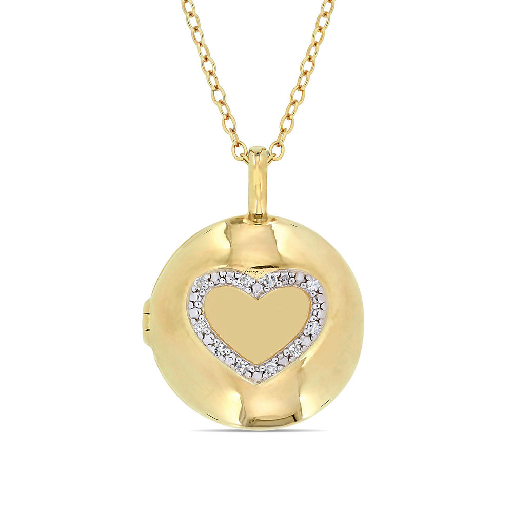 Locket Pendant Necklace in Gold Plated Sterling Silver with Diamond Heart