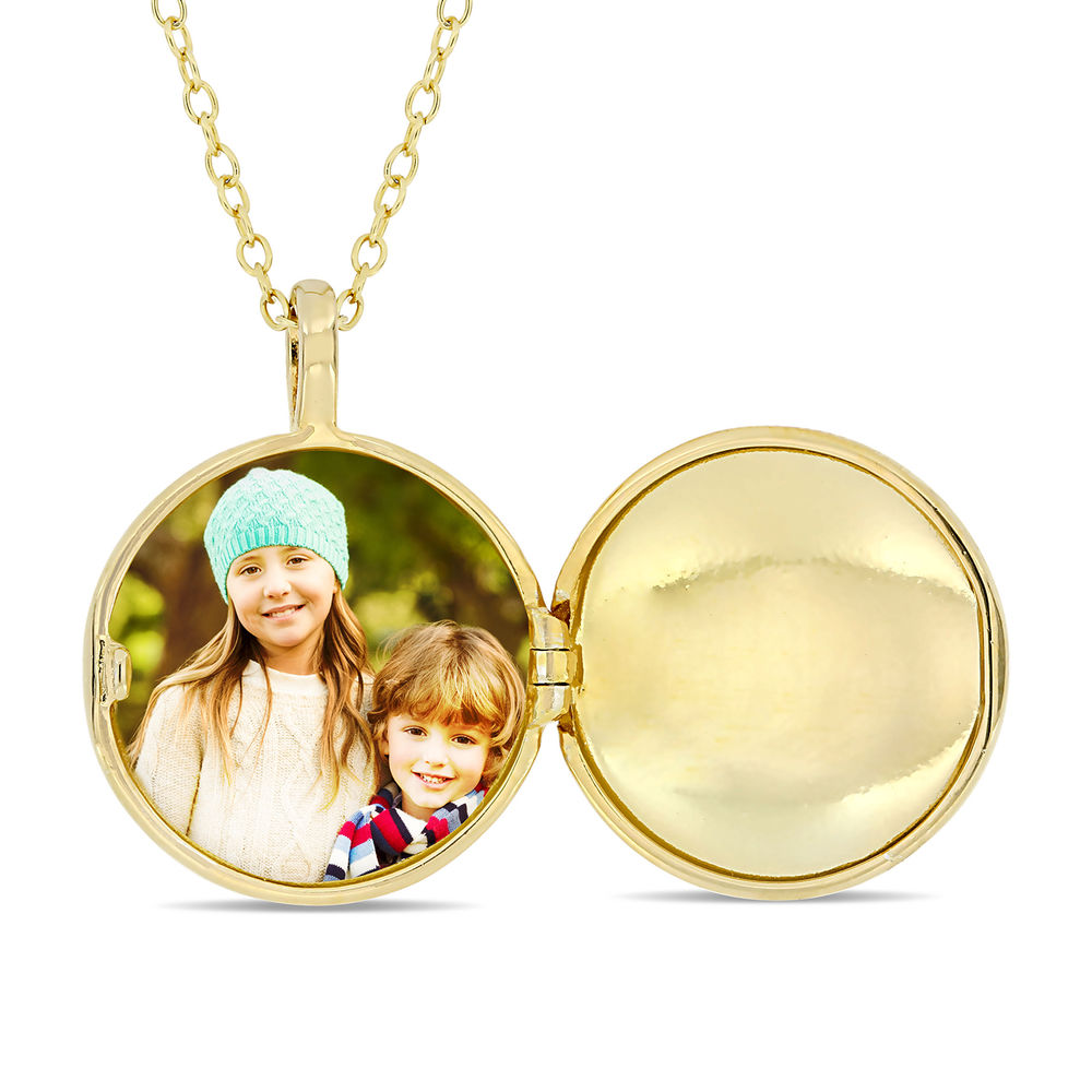 Locket Pendant Necklace in Gold Plated Sterling Silver with Diamond Heart - 1