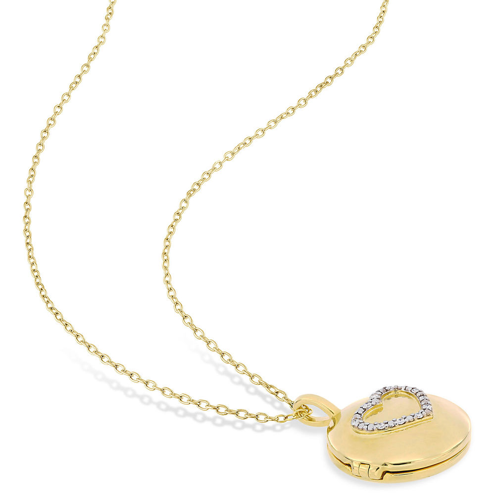 Locket Pendant Necklace in Gold Plated Sterling Silver with Diamond Heart - 2