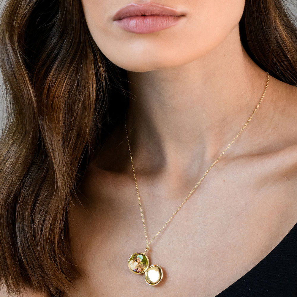 Locket Pendant Necklace in Gold Plated Sterling Silver with Diamond Heart - 3