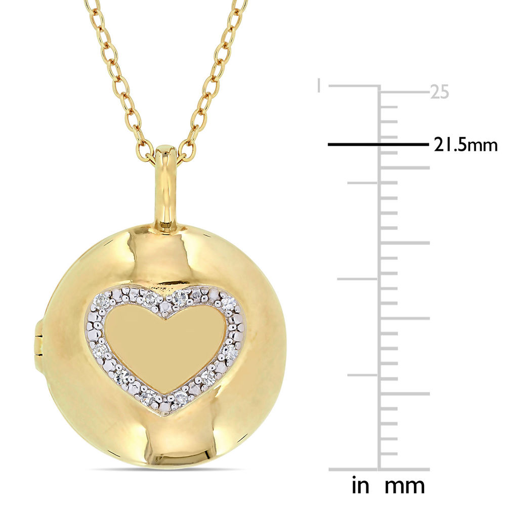 Locket Pendant Necklace in Gold Plated Sterling Silver with Diamond Heart - 5