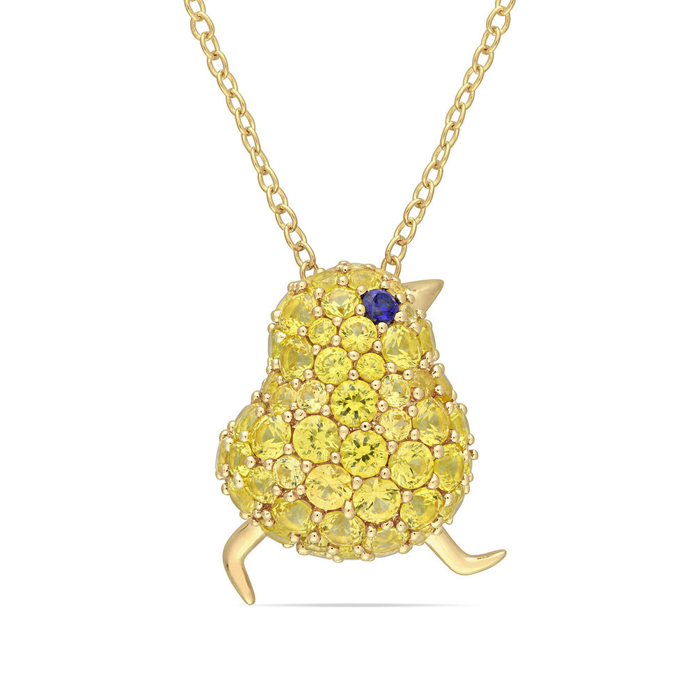 Chick Necklace with Lab-Created Blue and Yellow Sapphire in Gold Plated Sterling Silver