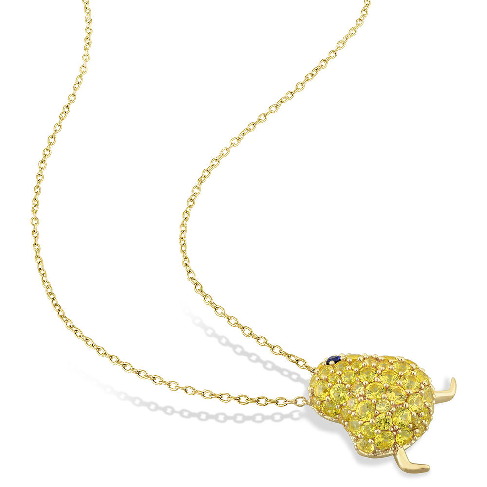 Chick Necklace with Lab-Created Blue and Yellow Sapphire in Gold Plated Sterling Silver - 1