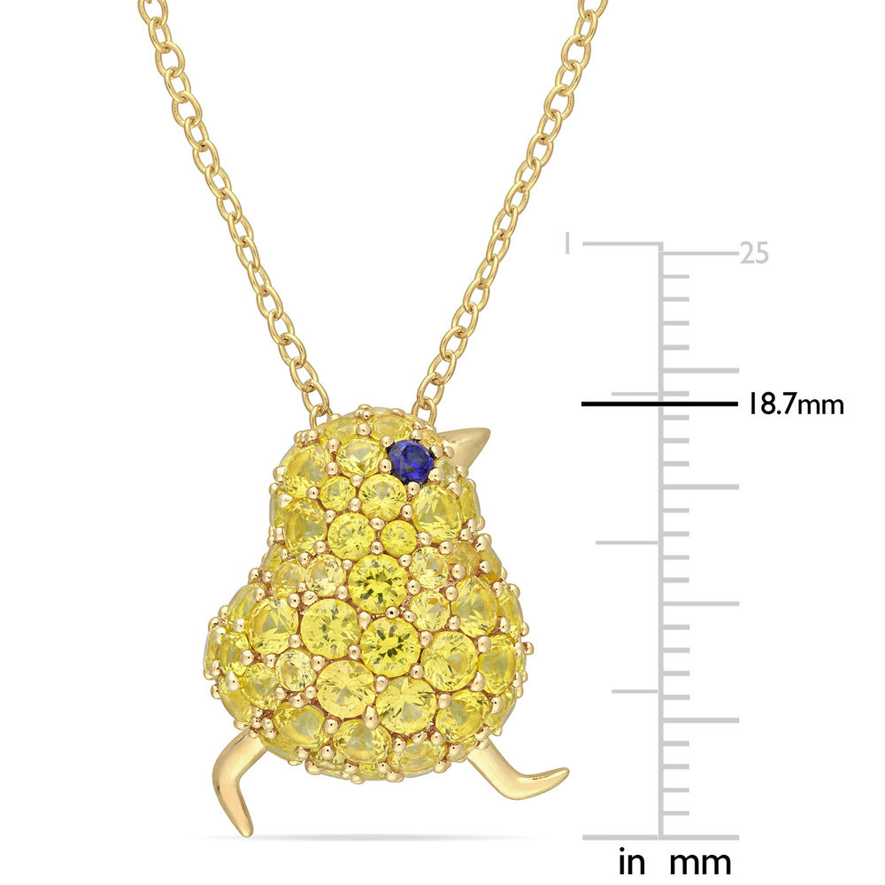 Chick Necklace with Lab-Created Blue and Yellow Sapphire in Gold Plated Sterling Silver - 4