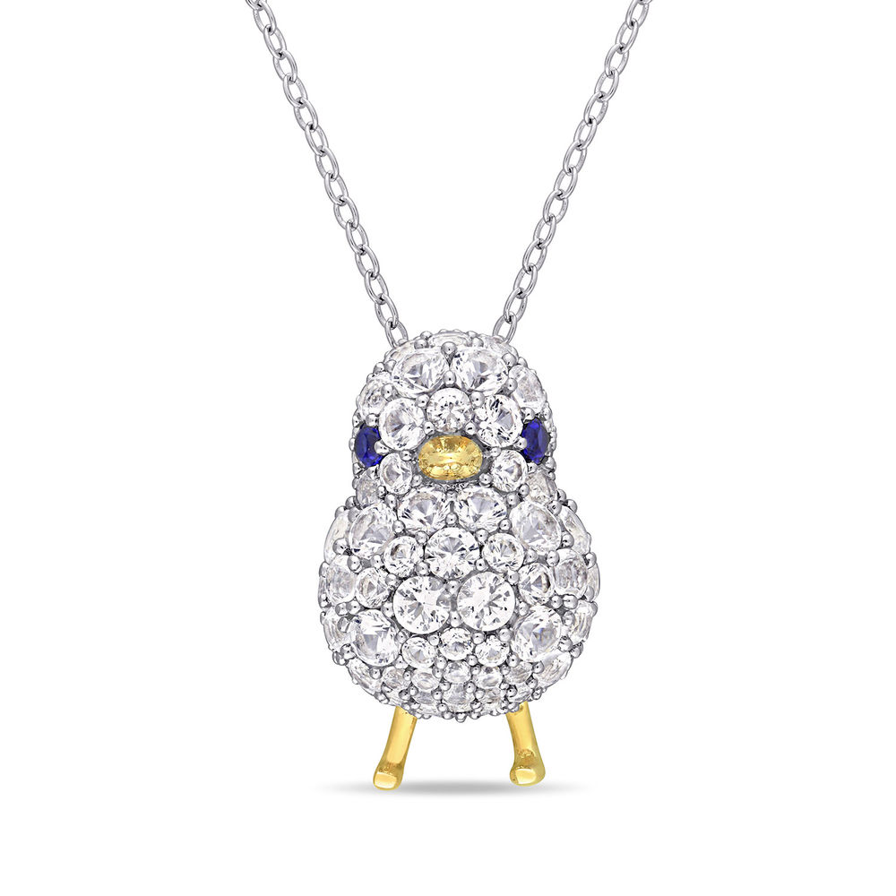 Chick Necklace with Lab-Created Blue and White Sapphire in Sterling Silver with Gold Plated details