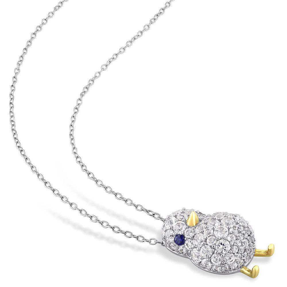 Chick Necklace with Lab-Created Blue and White Sapphire in Sterling Silver with Gold Plated details - 1