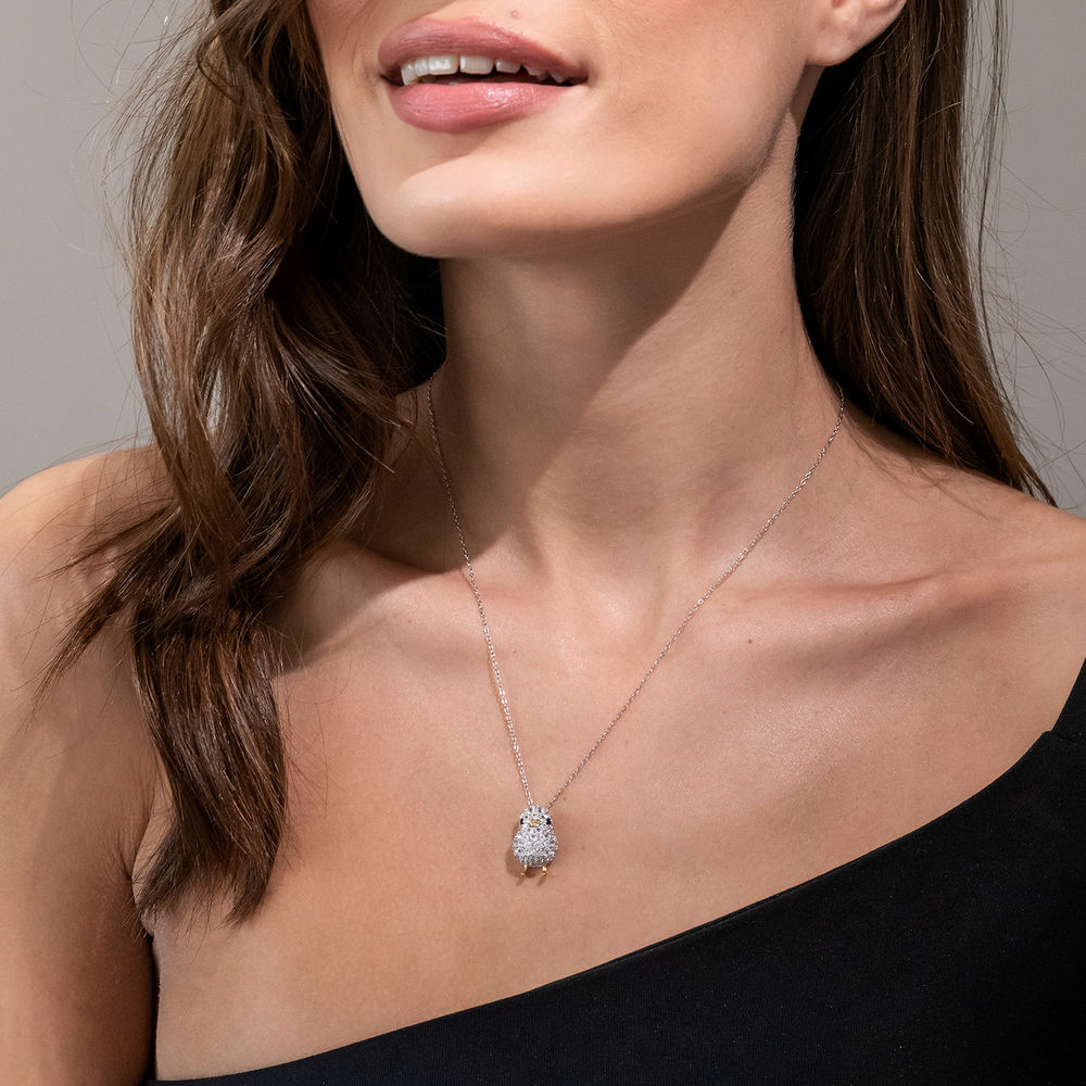 Chick Necklace with Lab-Created Blue and White Sapphire in Sterling Silver with Gold Plated details - 2