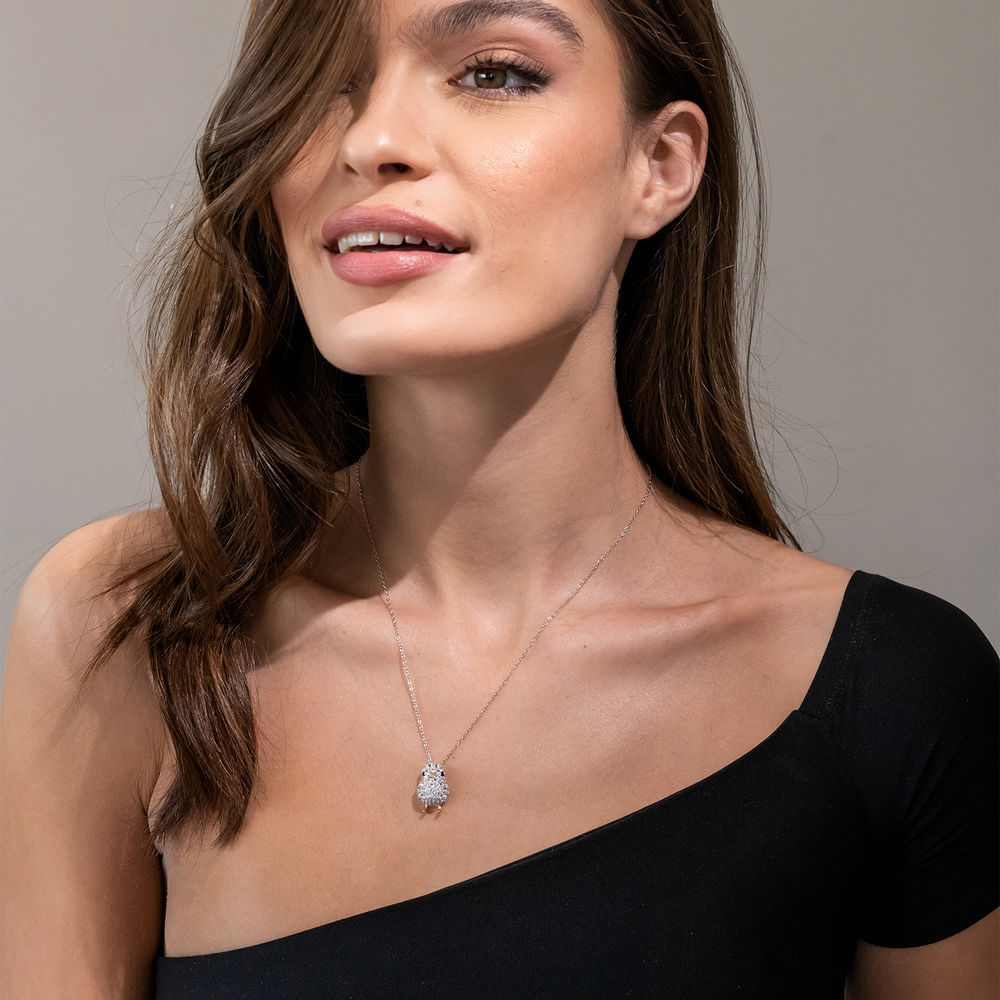 Chick Necklace with Lab-Created Blue and White Sapphire in Sterling Silver with Gold Plated details - 3