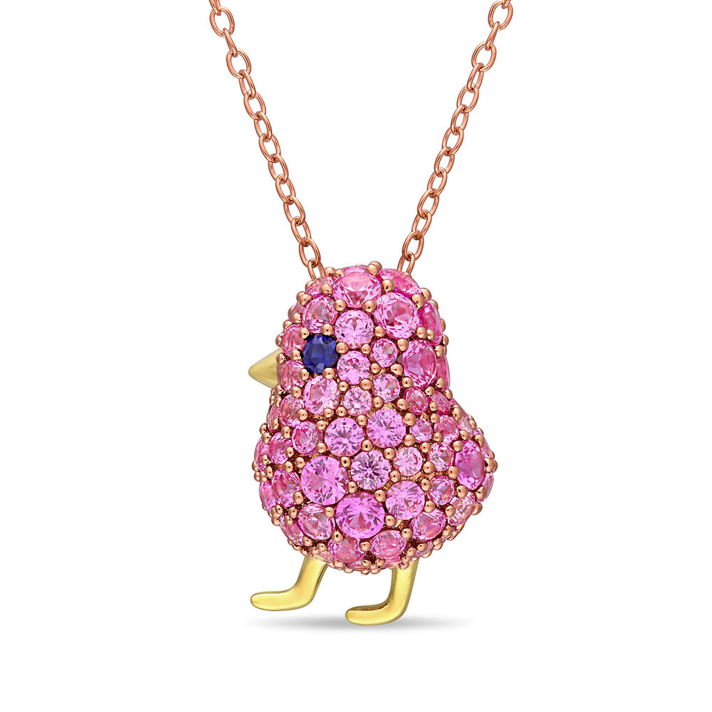 Chick Necklace with Lab-Created Blue and Pink Sapphire in Rose Gold Plated Sterling Silver