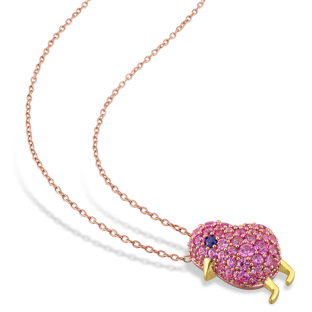 Chick Necklace with Lab-Created Blue and Pink Sapphire in Rose Gold Plated Sterling Silver - 1